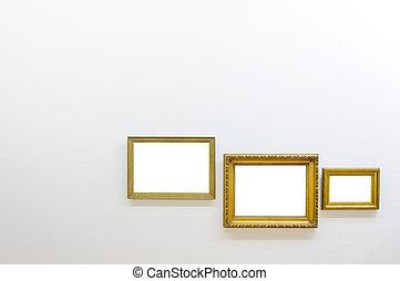 cornici, arte, stanza, vuoto, galleria