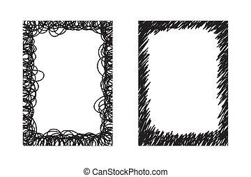 cornici, disegnato, bianco, mano