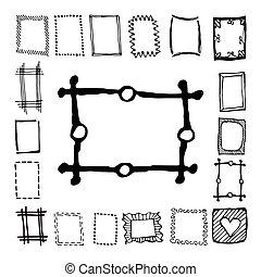 cornici, disegnato, set, rettangolo, mano