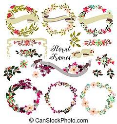 cornici, fiori, grande, floreale, set, mano, disegnato