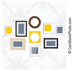 cornici, foto, galleria arte, su, vendemmia, wall., vettore,...