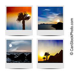 cornici, foto, set, spiagge