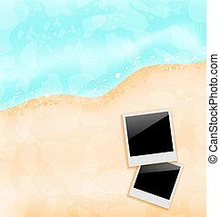 cornici, foto, set, spiaggia, fondo