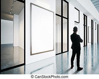 cornici, gallery., uomo affari, vuoto, contemporaneo, dall'aspetto
