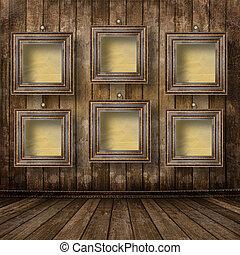 cornici, grunge, portato, interno, vecchio, industriale, legno, stanza, superficie