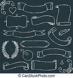 cornici, hand-drawn, set, lavagna