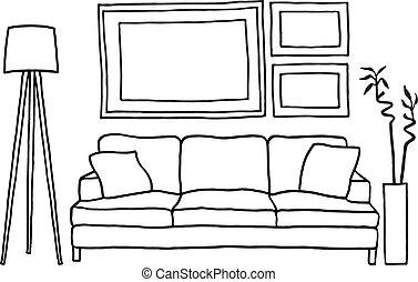 cornici, immagine, divano, vuoto