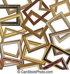 cornici, immagine, set, oro