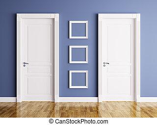 cornici, interno, due, porte
