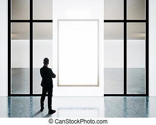 cornici, leva piedi, uomo affari, opposto, contemporaneo, vuoto, gallery.