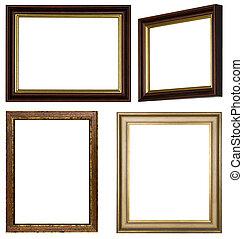 cornici, marrone, differente, oro, immagini