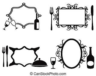 cornici, menu, set, vuoto