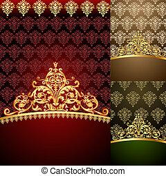 cornici, modello, fondo, gold(en), set