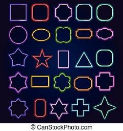 cornici, neon, set, bordo, variopinto