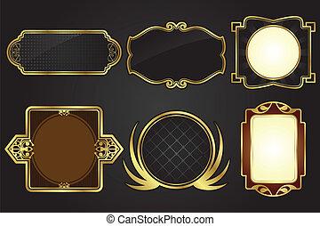 cornici, nero, oro