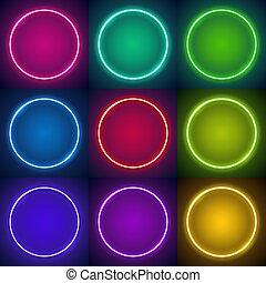 cornici, nove, neon, rotondo