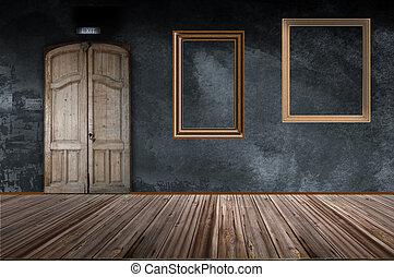 cornici, parete, due