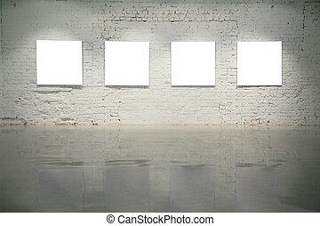 cornici, parete, mattone bianco