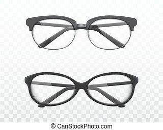 cornici, realistico, vectors, nero, occhiali
