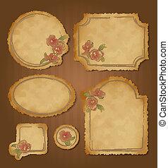 cornici, retro, floreale, set, vendemmia