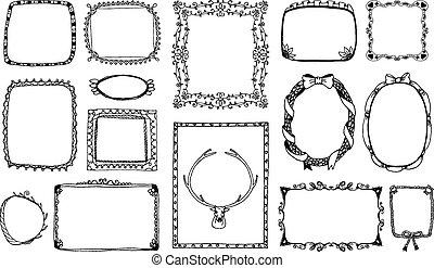 cornici, scarabocchiare, hand-drawn
