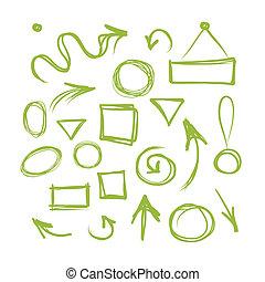 cornici, schizzo, frecce, tuo, disegno