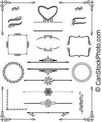 cornici, scrolls., vittoriano, vector., ornamentale