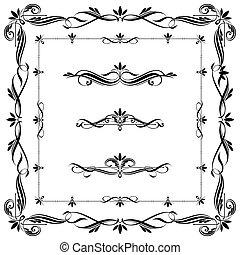 cornici, set, calligraphic