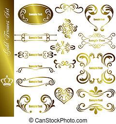 cornici, set, oro