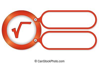 cornici, simbolo, radice quadrata, rosso