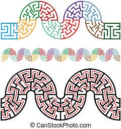 cornici, sinuosità, labirinti, profili di fodera, arco, sezioni