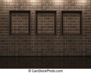cornici, su, uno, muro di mattoni