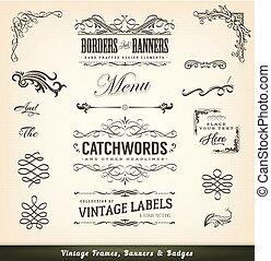 cornici, vendemmia, bandiere, calligraphic