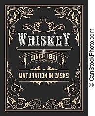 cornici, vendemmia, vecchio, whisky, etichetta
