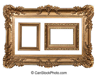 cornici, vuoto, 3, decorativo, parete oro, immagine