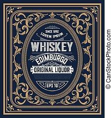cornici, whisky, vecchio, etichetta