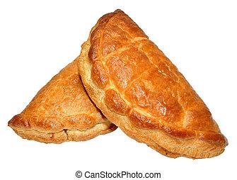 Cornish Pasties - Two traditional Cornish pasties, isolated...