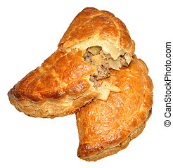 Cornish Pasties - Two traditional Cornish pasties, isolated...