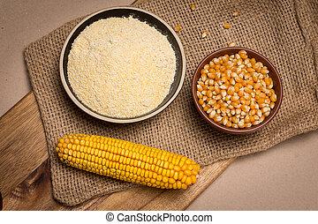 Cornmeal and corn