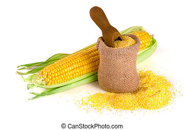 cornmeal and corncob isolated on white background