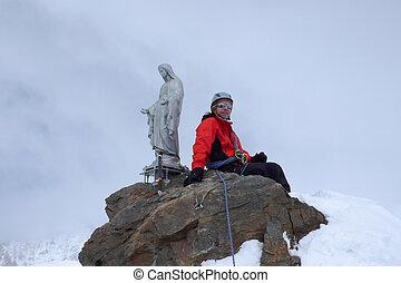 corno, montanha, itália, inverno, backcountry, escalador, ápice, alpes, nero, dia, esquiador