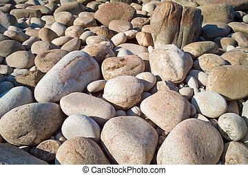 cornouailles, grand, uk., rivage, galets, granit