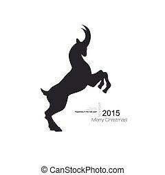 cornu, chèvre, symbole, noir, profil, vecteur, long, silhouette