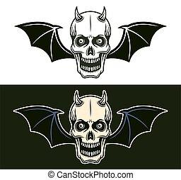 cornu, crâne, chauve-souris, styles, deux, diable, ailes