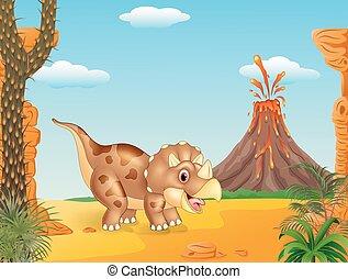 cornu, dessin animé, trois, triceratops