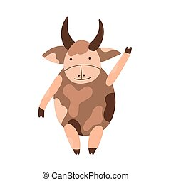 cornu, symbole, mignon, taureau, caractère, 2021, vecteur