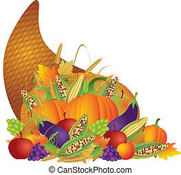 cornucopia, acción de gracias, ilustración, otoño, cosecha, ...