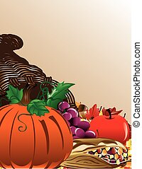 Fall cornucopia background with pumpkin, indian corn, grapes and an apple.