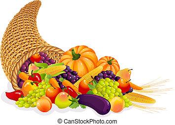 cornucopia - Vector illustration - Horn of Plenty with...