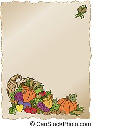 Vector art in Illustrator 8. Horn of Plenty for the autumn Thanksgiving harvest. All objects are complete images and can be separated and/or rearranged.